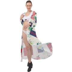 Christmas Gifts Pattern With Flowers Leaves Maxi Chiffon Beach Wrap