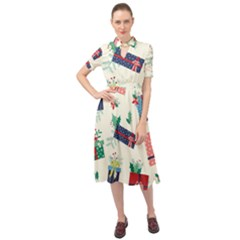 Christmas Gifts Pattern With Flowers Leaves Keyhole Neckline Chiffon Dress