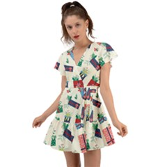 Christmas Gifts Pattern With Flowers Leaves Flutter Sleeve Wrap Dress