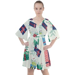 Christmas Gifts Pattern With Flowers Leaves Boho Button Up Dress