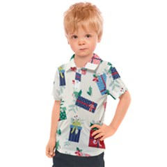 Christmas Gifts Pattern With Flowers Leaves Kids  Polo Tee
