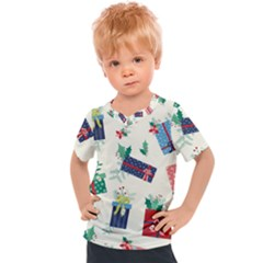 Christmas Gifts Pattern With Flowers Leaves Kids  Sports Tee