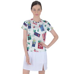 Christmas Gifts Pattern With Flowers Leaves Women s Sports Top
