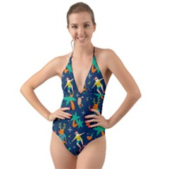 Colorful Funny Christmas Pattern Halter Cut Out One Piece Swimsuit