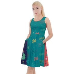 Hand Drawn Christmas Pattern Collection Knee Length Skater Dress With Pockets