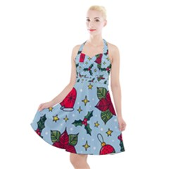 Colorful Funny Christmas Pattern Halter Party Swing Dress