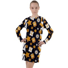 Black Golden Christmas Pattern Collection Long Sleeve Hoodie Dress