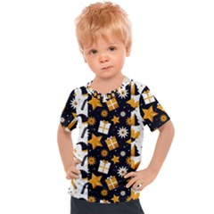 Black Golden Christmas Pattern Collection Kids  Sports Tee