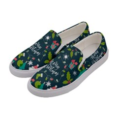 Funny Christmas Pattern Background Women s Canvas Slip Ons by Vaneshart