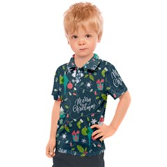 Funny Christmas Pattern Background Kids  Polo Tee