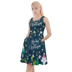 Funny Christmas Pattern Background Knee Length Skater Dress With Pockets