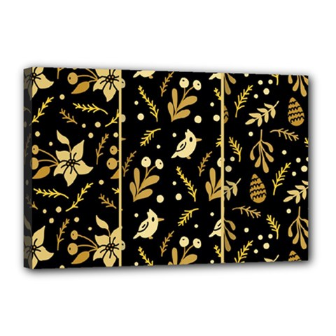 Golden Christmas Pattern Collection Canvas 18  X 12  (stretched)