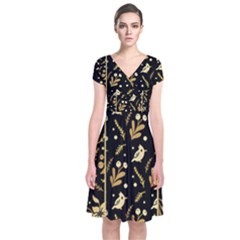 Golden Christmas Pattern Collection Short Sleeve Front Wrap Dress