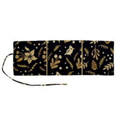 Golden Christmas Pattern Collection Roll Up Canvas Pencil Holder (m)