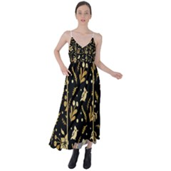 Golden Christmas Pattern Collection Tie Back Maxi Dress by Vaneshart