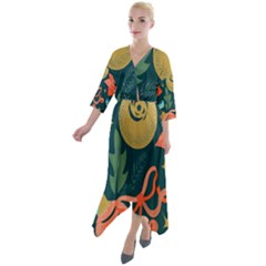 Colorful Vintage Christmas Pattern Quarter Sleeve Wrap Front Maxi Dress