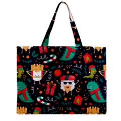 Colorful Funny Christmas Pattern Zipper Mini Tote Bag