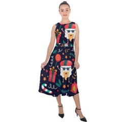 Colorful Funny Christmas Pattern Midi Tie Back Chiffon Dress
