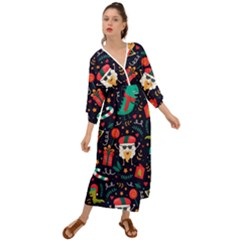 Colorful Funny Christmas Pattern Grecian Style  Maxi Dress