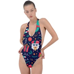 Colorful Funny Christmas Pattern Backless Halter One Piece Swimsuit