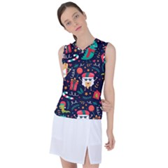 Colorful Funny Christmas Pattern Women s Sleeveless Sports Top