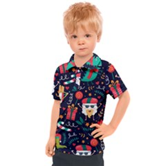 Colorful Funny Christmas Pattern Kids  Polo Tee