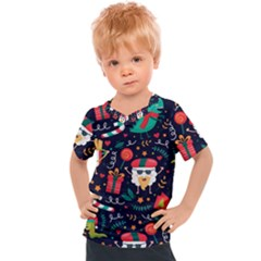 Colorful Funny Christmas Pattern Kids  Sports Tee
