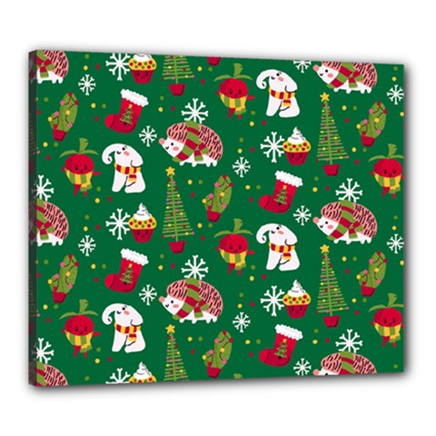Colorful Funny Christmas Pattern Green Canvas 24  X 20  (stretched)