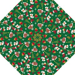 Colorful Funny Christmas Pattern Green Straight Umbrellas