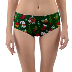 Colorful Funny Christmas Pattern Green Reversible Mid Waist Bikini Bottoms