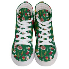 Colorful Funny Christmas Pattern Green Women s Hi Top Skate Sneakers