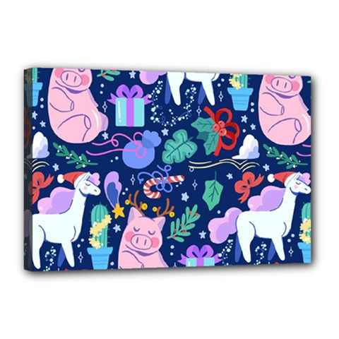 Colorful Funny Christmas Pattern Pig Animal Canvas 18  X 12  (stretched)