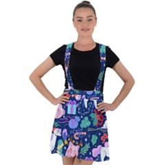 Colorful Funny Christmas Pattern Pig Animal Velvet Suspender Skater Skirt