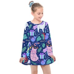 Colorful Funny Christmas Pattern Pig Animal Kids  Long Sleeve Dress