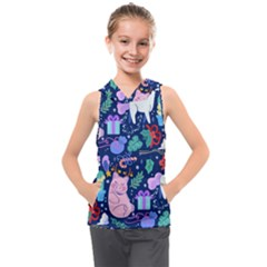 Colorful Funny Christmas Pattern Pig Animal Kids  Sleeveless Hoodie