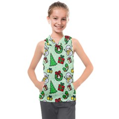Colorful Funny Christmas Pattern Cartoon Kids  Sleeveless Hoodie