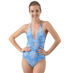 Hand Drawn Snowflakes Seamless Pattern Halter Cut Out One Piece Swimsuit