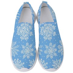 Hand Drawn Snowflakes Seamless Pattern Men s Slip On Sneakers