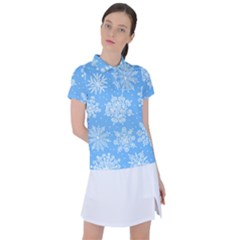 Hand Drawn Snowflakes Seamless Pattern Women s Polo Tee