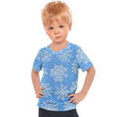 Hand Drawn Snowflakes Seamless Pattern Kids  Sports Tee