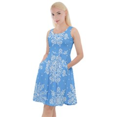 Hand Drawn Snowflakes Seamless Pattern Knee Length Skater Dress With Pockets