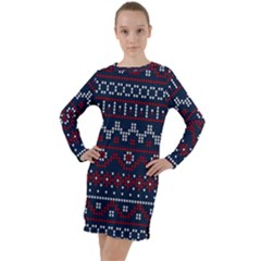 Christmas Concept With Knitted Pattern Long Sleeve Hoodie Dress