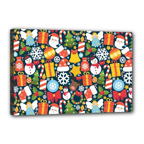 Colorful Pattern With Decorative Christmas Elements Canvas 18  X 12  (stretched)