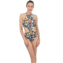 Colorful Pattern With Decorative Christmas Elements Halter Side Cut Swimsuit by Vaneshart