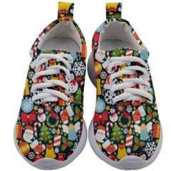 Colorful Pattern With Decorative Christmas Elements Kids Athletic Shoes
