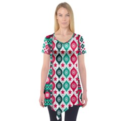 Flat Design Christmas Pattern Collection Short Sleeve Tunic