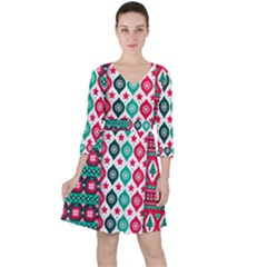 Flat Design Christmas Pattern Collection Ruffle Dress
