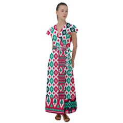 Flat Design Christmas Pattern Collection Flutter Sleeve Maxi Dress