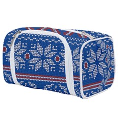 Beautiful Knitted Christmas Pattern Toiletries Pouch