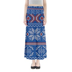 Beautiful Knitted Christmas Pattern Full Length Maxi Skirt